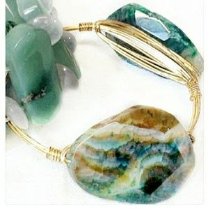 Gold Plated Wire Natural Stone Chrysoprase Bangle